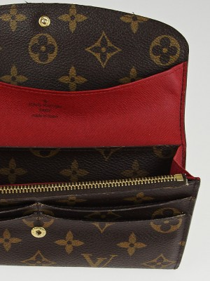 louis vuitton monogram canvas red emilie wallet yoogis