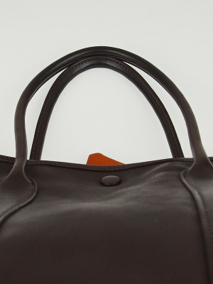 Hermes Chocolate Swift Leather and Bolduc Twilly Garden Party TPM ...