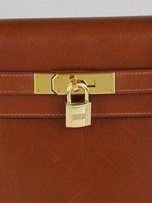 hermes handbag price - Hermes 35cm Noisette Box Leather Gold Plated Kelly Retourne Bag ...