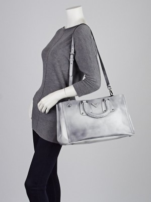 Prada Grigio Spazzolato Calfskin Leather Shopping Tote Bag BN1889 ...