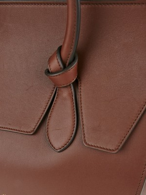 Celine Chocolate Natural Calfskin Leather Small Tie Tote Bag ...