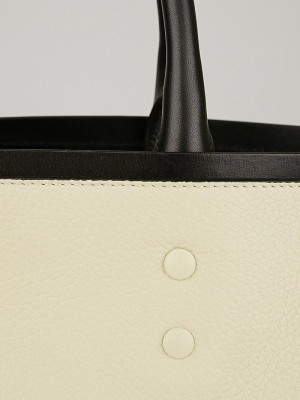 CHLOE Grained Leather Large Charlotte Tote Huskey White