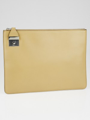 celine chalk orange lambskin leather fold over clutch bag