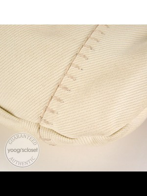 Yves Saint Laurent White Canvas Vincennes Mombasa Hobo Bag ...