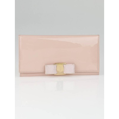 Salvatore Ferragamo Light Pink Patent Leather Vera Bow Wallet