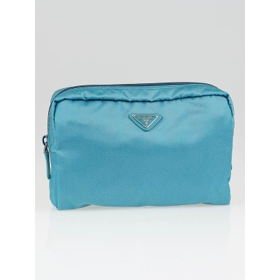 Prada Turquoise Nylon Triangle Vela Cosmetic Bag