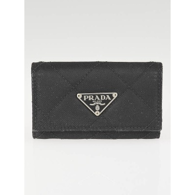 Prada Black Quilted Nylon 6 Key Case