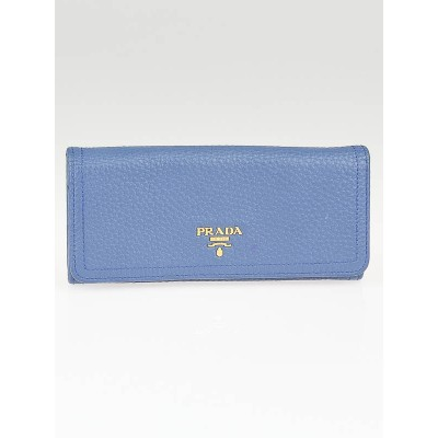 Prada Cobalto Vitello Daino Leather Long Continental Wallet 1M1132