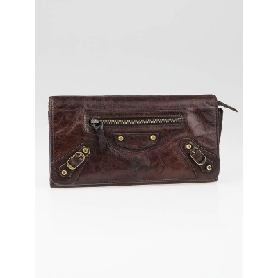 Balenciaga Dark Brown Leather Money Wallet