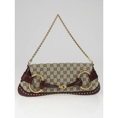 Gucci Beige/Burgundy GG Canvas Horsebit Chain Large Clutch Bag