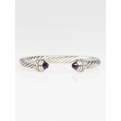 David Yurman 7mm Sterling Silver Amethyst and Diamond Silver Ice Bracelet