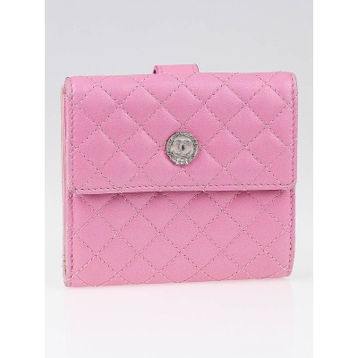 Chanel Pink Quilted Lambskin Leather CC Compact Wallet