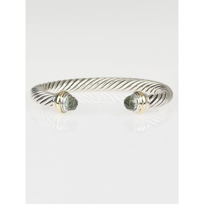 David Yurman 7mm Sterling Silver and Prasolite Cable Classics Bracelet