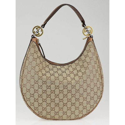 Gucci Beige/Bronze GG Canvas Twins Medium Hobo Bag