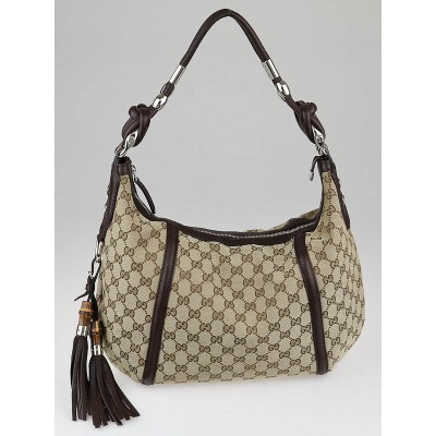 Gucci Beige/Ebony GG Canvas Techno Horsebit Medium Hobo Bag