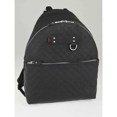 Gucci Black Guccissima Rubber Backpack Bag
