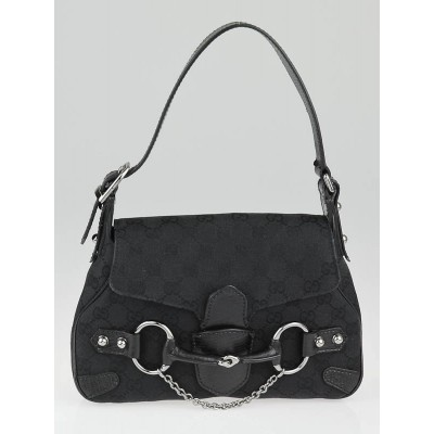 Gucci Black GG Canvas Horsebit Chain Small Shoulder Bag