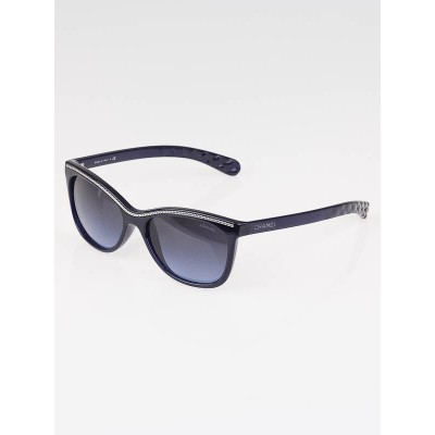 Chanel Dark Blue Frame Gradient Tint Cat-Eye Chain Sunglasses- 6041