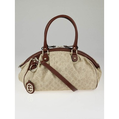 Gucci Natural/Brown GG Canvas Sukey Medium Boston Bag