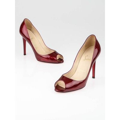 Christian Louboutin Rouge Patent Leather You You 100 Metal Pumps Size 7.5/38