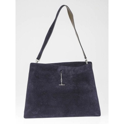 Celine Navy Blue Suede New Shoulder Bag