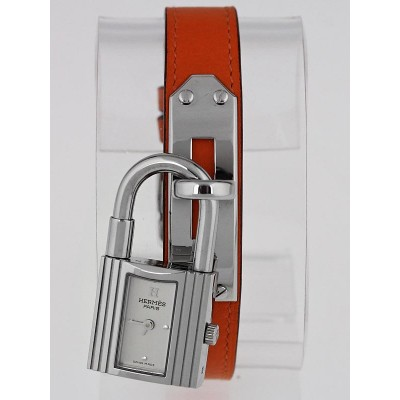 Hermes Orange Leather Palladium Plated Kelly PM Watch