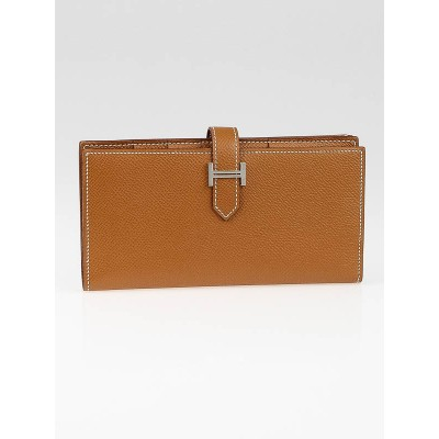 Hermes Gold Epsom Leather Bearn Gusset Wallet