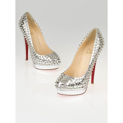 Christian Louboutin Silver Patent Leather Altipump 160 Spike Pumps Size 4.5/35