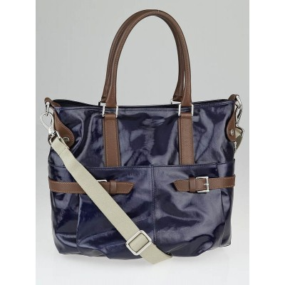 Tod's Navy Blue Coated Canvas J-Bucket Media Tote Bag
