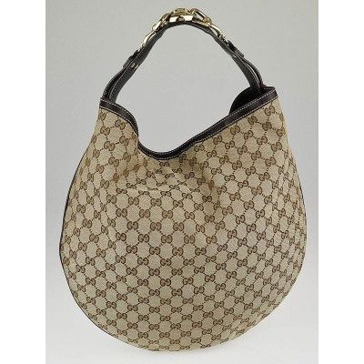 Gucci Beige/Ebony GG Canvas Horsebit Catena Hobo Bag