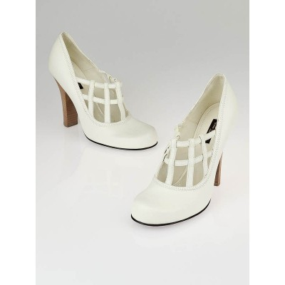 Louis Vuitton White leather Ball Cage Pumps Size 9/39.5
