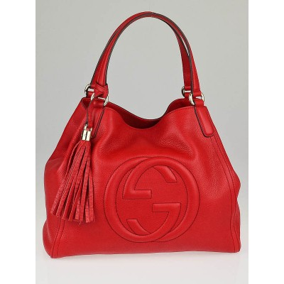 Gucci Red Leather Soho Shoulder Bag