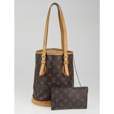Louis Vuitton Monogram Canvas Petit Bucket Bag w/ Accessories Pochette