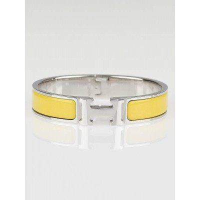 Hermes Sun Yellow Enamel/Palladium Plated Clic H PM Narrow Bracelet