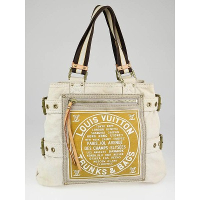 Louis Vuitton Limited Edition Yellow Toile Globe Shoppers Cabas MM Bag