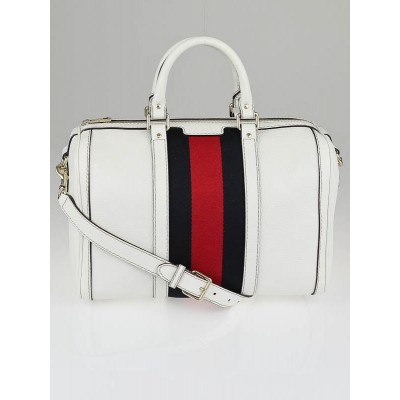 Gucci White Leather Vintage Web Stripe Medium Joy Boston Bag