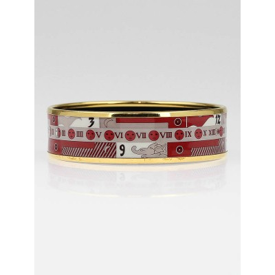 Hermes Red Enamel Zodiac Wide Bangle Bracelet Size 65