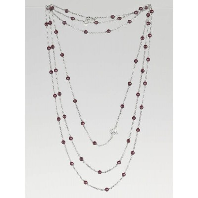 David Yurman Sterling Silver and Garnet Bead Spinal Chain Necklace