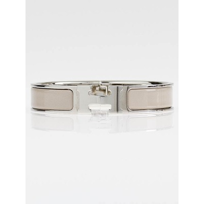 Hermes Marron Glace Enamel Palladium Plated Clic H PM Narrow Bracelet