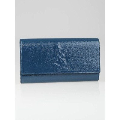 Yves Saint Laurent Teal Blue Patent Leather Belle Du Jour Clutch Bag