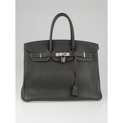 Hermes 35cm Graphite Clemence Leather Palladium Plated Birkin Bag