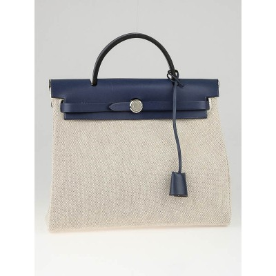 Hermes 30cm Natural/Blue Toile and Leather 2-in-1 Herbag PM Bag