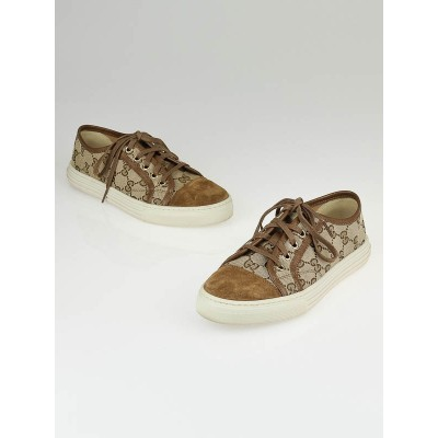 Gucci Beige/Ebony GG Canvas and Brown Suede California Low-Top Sneakers Size 5.5/36