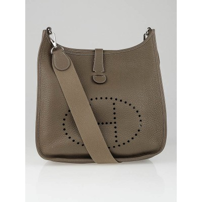 Hermes Etoupe Clemence Leather Evelyne II GM Bag