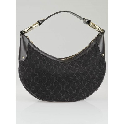 Gucci Black/Brown GG Canvas Bamboo Ring Hobo Bag