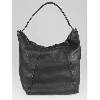 Bottega Veneta Black Cervo Leather Loop Hobo Bag