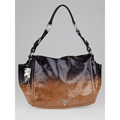 Prada Brown Ombre Patent Leather Flap Shoulder Bag