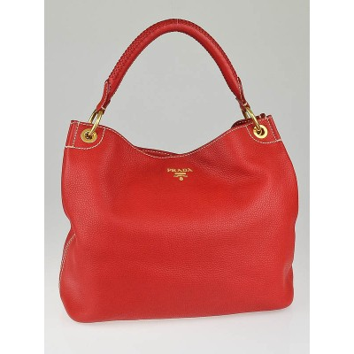 Prada Fuoco Vitello Daino Leather Hobo Bag BR4712