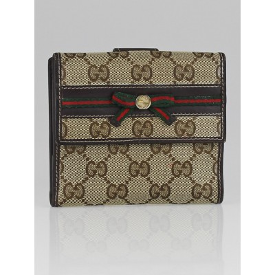 Gucci Beige/Ebony GG Canvas Bow Detail French Flap Wallet