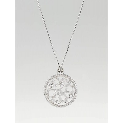 David Yurman Sterling Silver and Diamond Quatrefoil Pendant Necklace